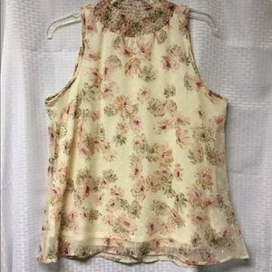 Chenault Tops - CHENAULT SLEEVELESS BLOUSE Sheer Lined Size PM